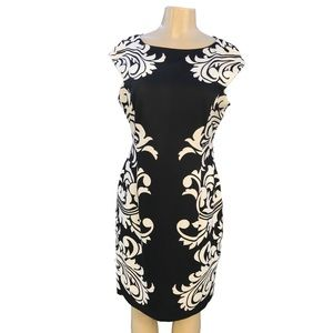 Maggy London Cap Sleeve Black and White Dress